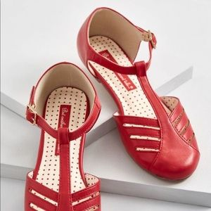 Adorable red t-strap flats
